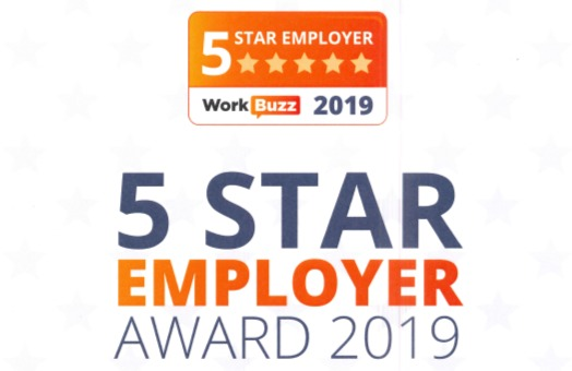 WorkBuzz 5 Star Employer Certificate