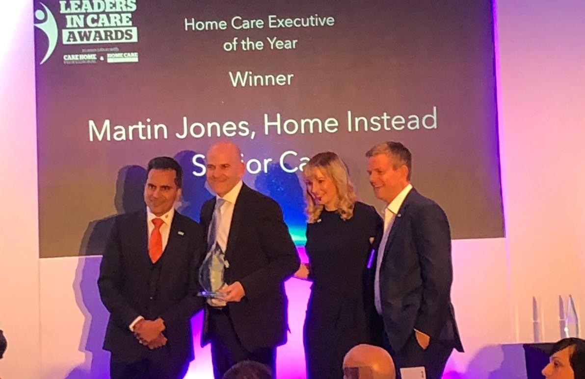 Photo of Martin Jones receiving award at Leaders in Care Awards 2019