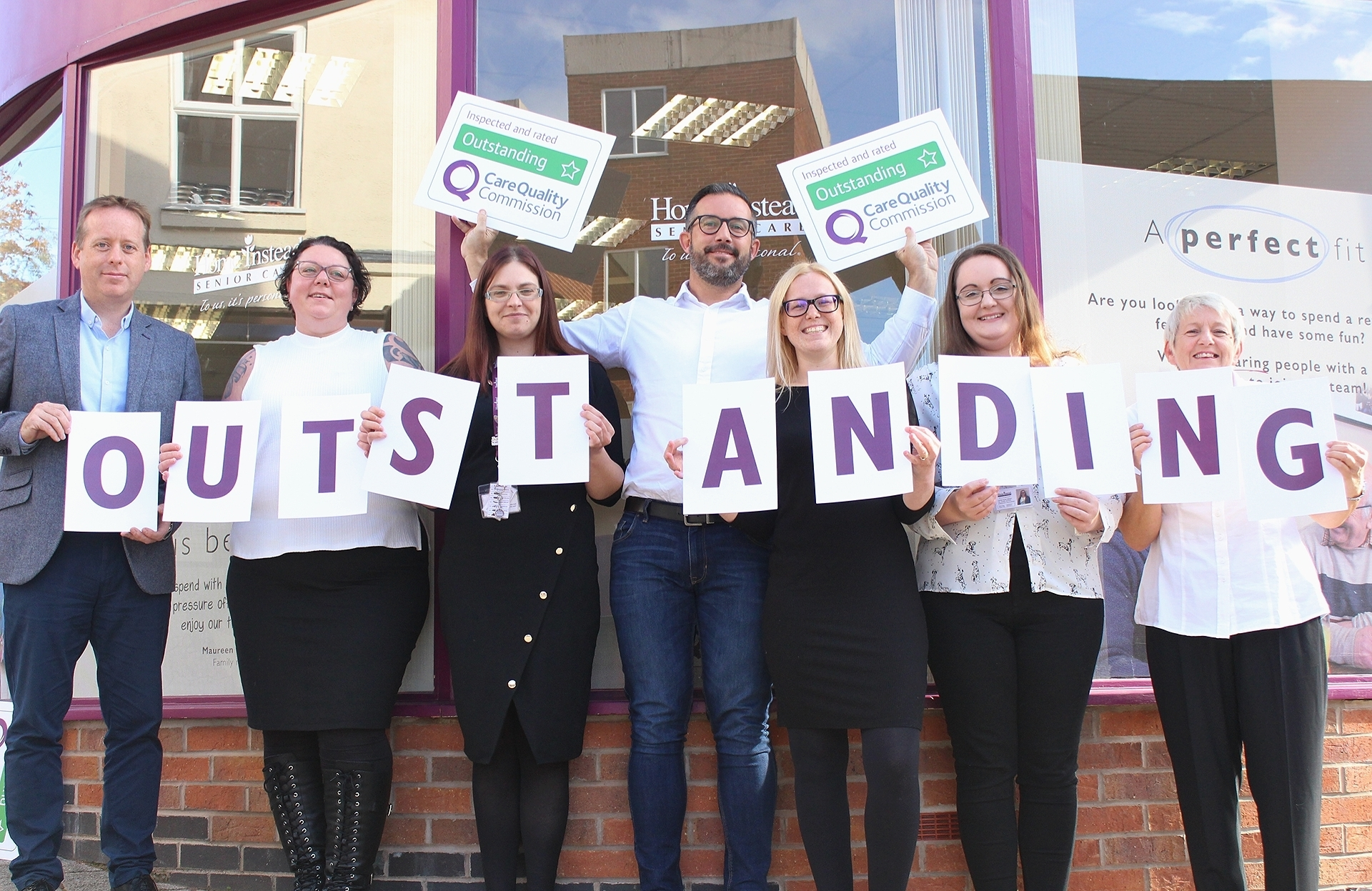 Home Instead Hinckley with CQC Outstanding Signs