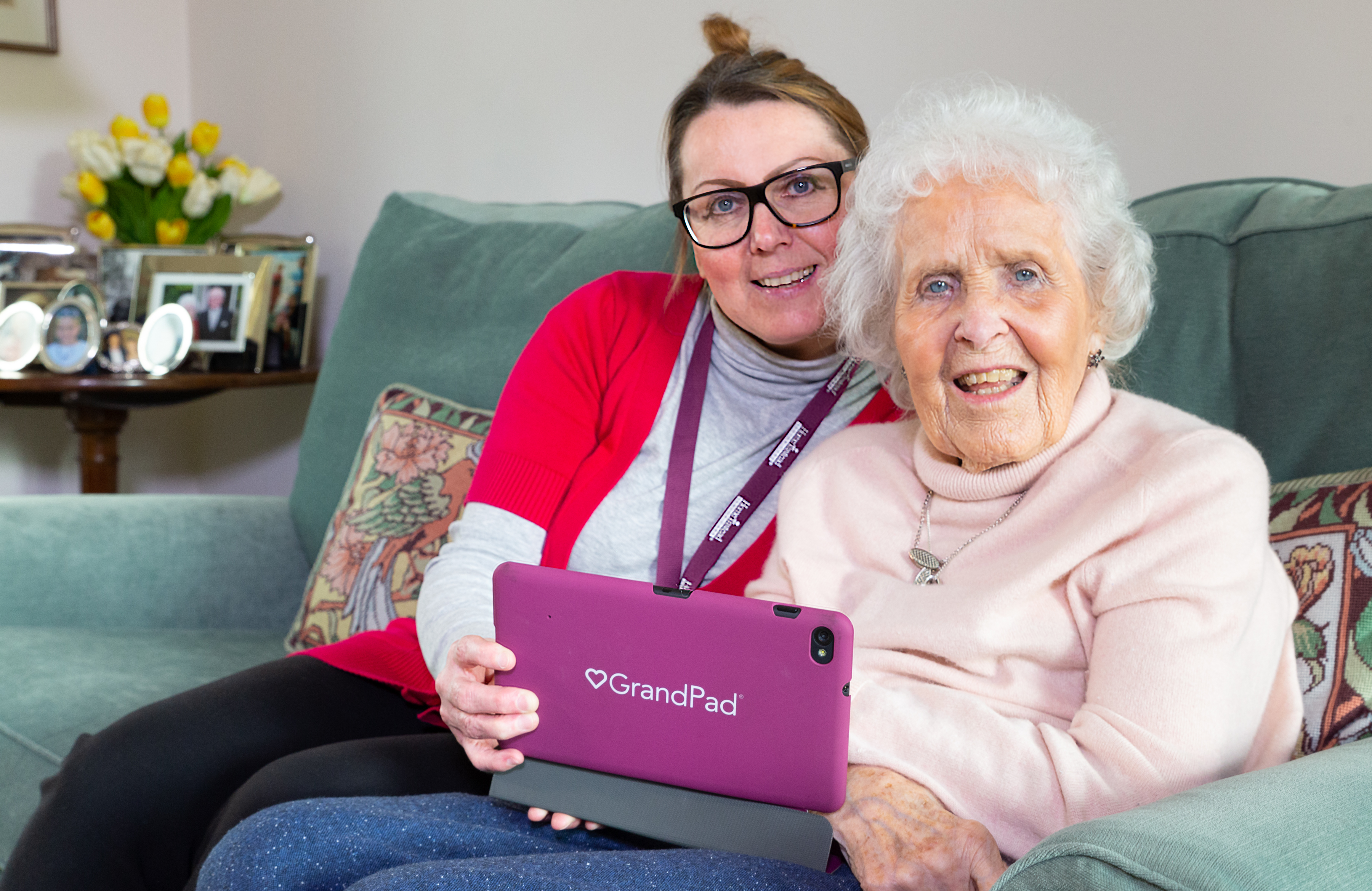 CAREGiver and client using GrandPad